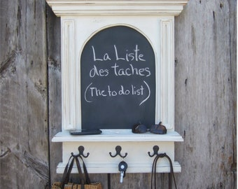 The French Architectural Arch Chalkboard With Shelf and Key Hooks