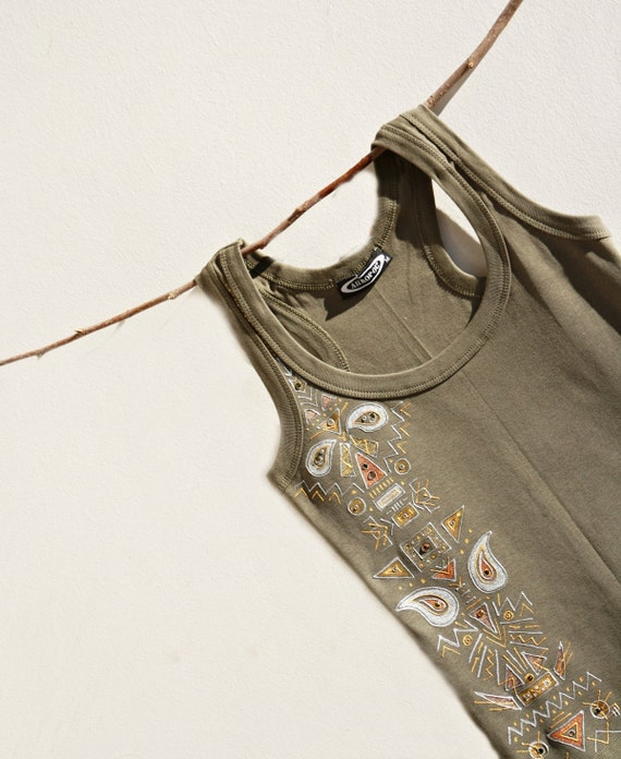 Hand Painted Tribal Boho Women Tank Green Silver Gold Copper SWAROVSKI crystals SIZE S-M