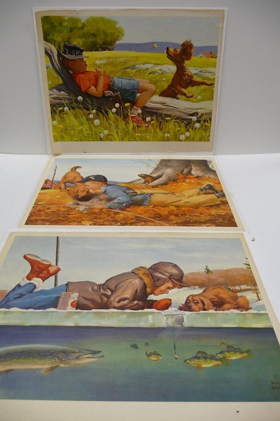 Three vintage Duane Bryers Art prints Little boy and his dog Fishing Boy Scout Cowboy CUTE