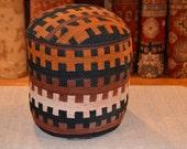 Rug Pouf / Antique Kilim Sitting Stool / Rug Upholstered Ottoman / foot stool