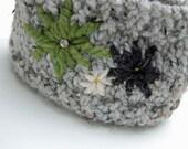 Knit flower ear Warmer / headband - head wrap - neck warmer - button closure - lamb's wool- THE BEL FIORE