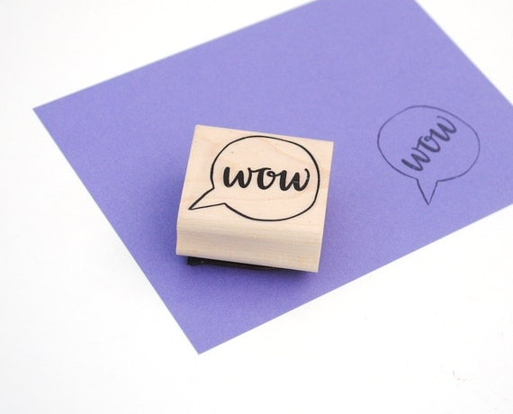 Wow Rubber Stamp, Modern Calligraphy, Voice Bubble Illustration, Hand Lettering, DIY Stationery Supply, Art Mount Stamp, Ready to Ship