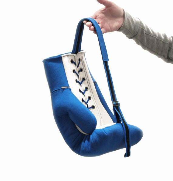 Blue Felt Boxing Glove Bag / Backpack