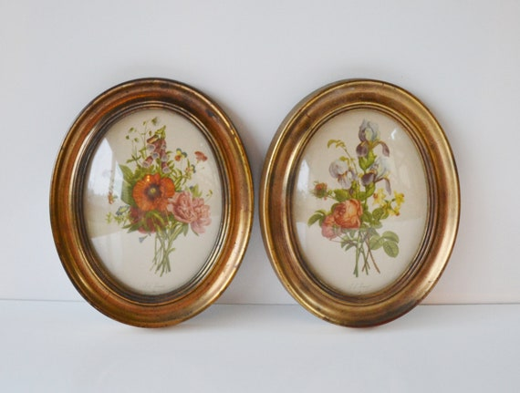 Set of 2 Jean Louis Prevost floral prints in oval frames with convex bow bubble glass