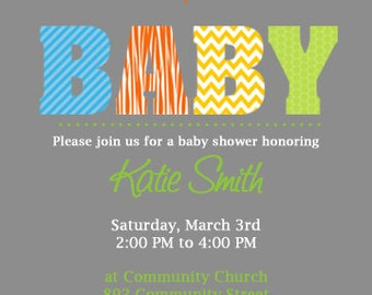 BABY Boy Baby Shower Invitation.  Custom Printable Baby shower Invitation