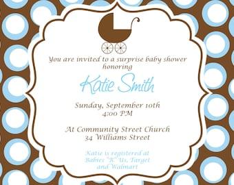 Baby Boy Baby Shower Invitation. Custom Printable Baby shower Invitation.  Blue and Brown Polka Dot shower Invitation.