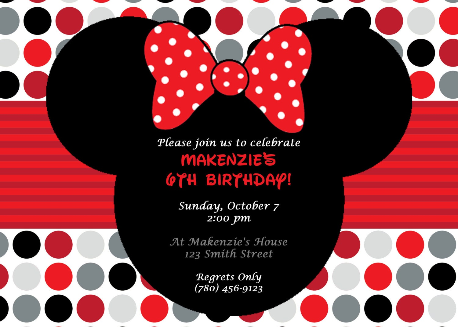 diy printable minnie mouse birthday party invitation red, invitation samples