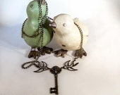 Messenger - Swallow Birds, Filigree Key with Blue Crystal Steampunk Necklace -  GM22132