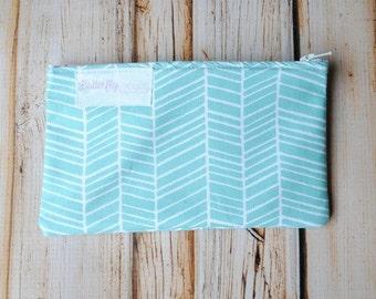 Small Snack Bag- Small Size Reusable Snack Bag with zipper closure- Aqua Herringbone- Snack Pouch