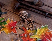 Fall Burlap Leaves, Fabric Autumn Leaf Rustic Woodland Embellishments, Thanksgiving Halloween Craft Supply, Table Home Decor itsyourcountry