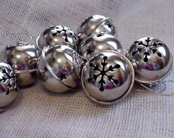 """Snowflake Jingle Bells, Silver Shiny Metal 1.5"""" Craft Supply Bells, Christmas Ornaments, SALE """"Seconds"""", 9 bells itsyourcountry"""