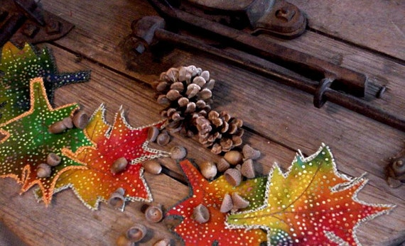 Fall Burlap Leaves Fabric Autumn Leaf Rustic Woodland Embellishments Thanksgiving Halloween Craft Supply Table Home Decor itsyourcountry