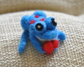 Exotic Blue & Red Spotted Frog -  AdoraWools Needle Felted animals - www.AdoraWools.com
