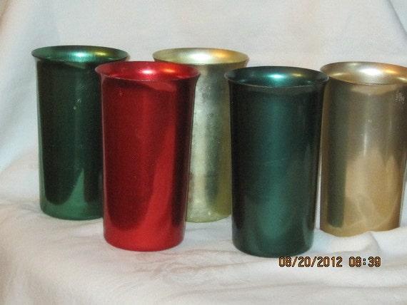Retro Sunburst Aluminum Tumblers Set of Five