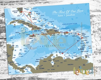 Caribbean Map Etsy - World map caribbean
