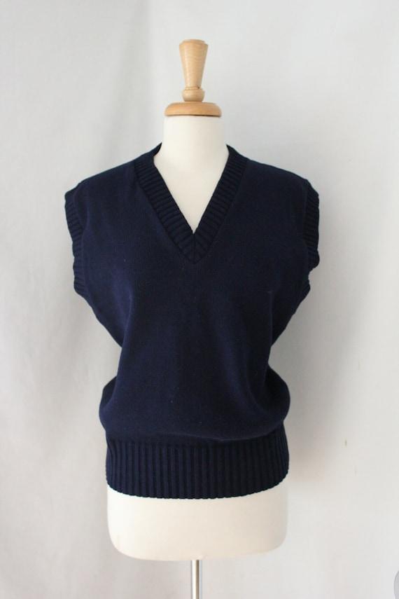 Arm Knitting Vest : Vintage navy blue knit sweater vest by san