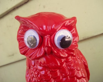 silly red owl upcycled ceramic figurine