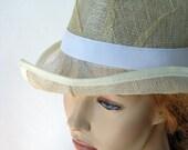 Modern light yellow women panama hat, sinamay sun hat, summer fashion