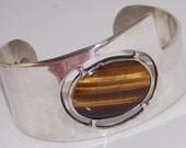 Vintage Mexican Silver Tiger's Eye Cuff Bracelet