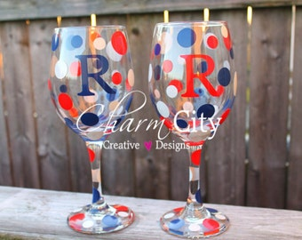 New York Giants themed Personalized Wine Glasses patriotic USA memorial day labor day