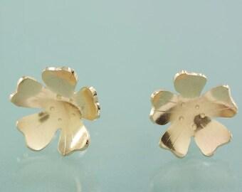 14k Yellow Gold Apple Blossom Post Earrings