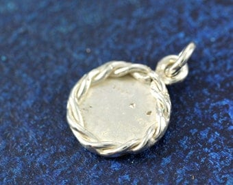 READY TO SHIP Sterling Silver Small Nautical Rope Edge Stamped Initial Charm