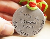 Personalized Christmas Ornament Our First Christmas Newlywed Gift Custom Stamped Ornament Christmas Keepsake