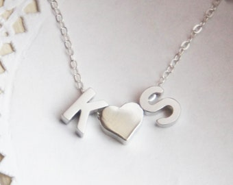Valentine's Day Couples Initial Necklace Personalized Monogram Heart Custom Lovers Necklace Gift for Her Anniversary Wedding GiftMothers Day