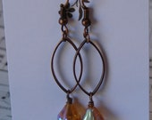 Copper Amber Aurora Borealis Lily Floral Drop Dangle Classic  Beaded Handmade Earrings