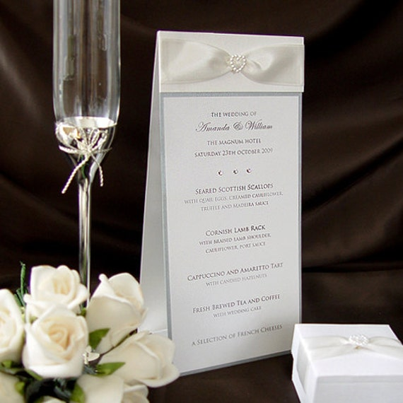 Items Similar To Elegant Wedding Table Menu Card Standard Free Standing Individual Qty 30
