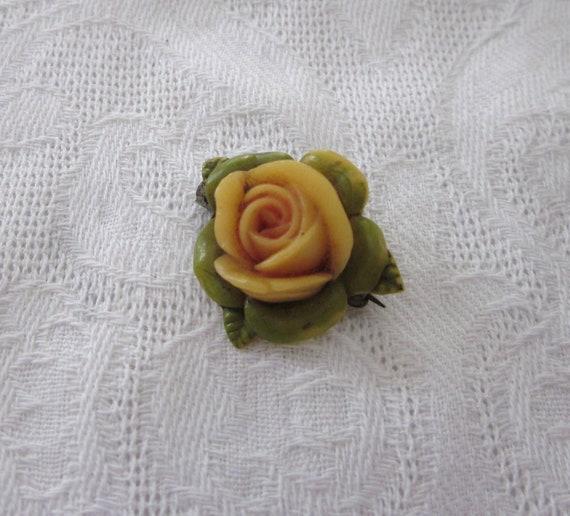 RESERVED for raining Small CELLULOID Rose Pin Brooch JAPAN Japanese World War Era