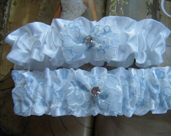 White Satin with Blue and White Flower Lace Garter Set