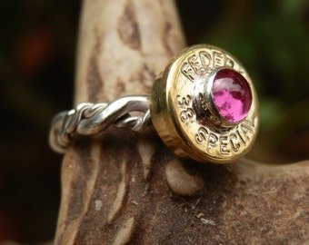 38 Special Bullet with 5mm Cabochons on Sterling Silver Ring