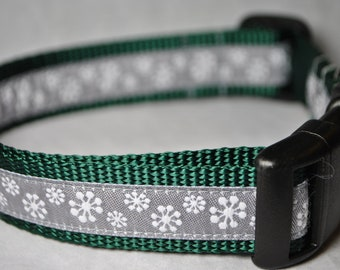 """Snowflakes 1"""" Adjustable Dog Collar - Limited Availability"""