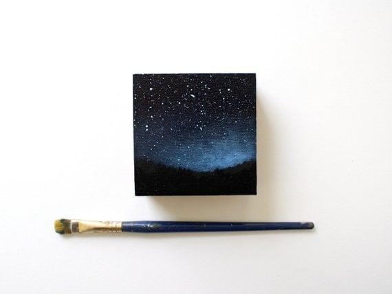 Night Sky Oil Painting on Reclaimed Cedar Wood Block