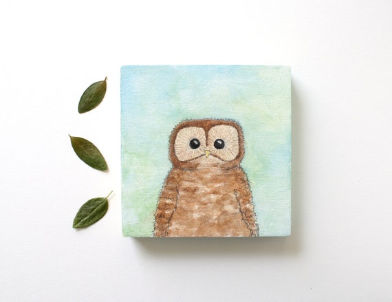 Owl Watercolor Painting on Wood Panel