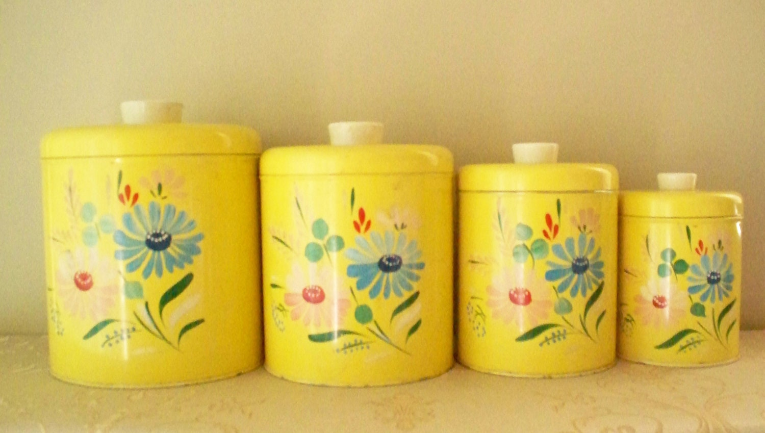 ransburg canister set yellow with hand painted floral flour