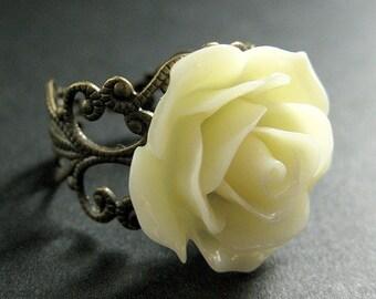 Ivory Rose Ring. Ivory Flower Ring. Adjustable Ring. Filigree Ring. Flower Jewelry. Handmade Jewelry.