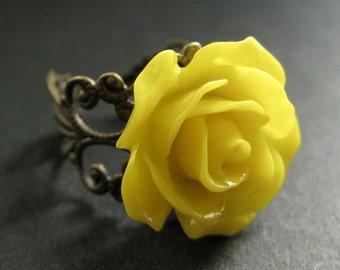 Yellow Rose Ring. Yellow Flower Ring. Filigree Ring. Adjustable Ring. Flower Jewelry. Handmade Jewelry.
