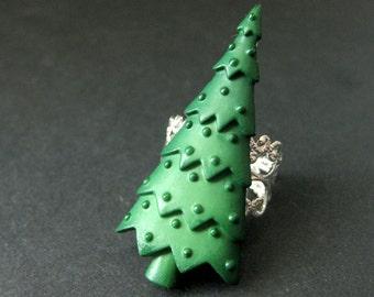 Christmas Tree Ring. Holiday Ring. Christmas Ring. Silver Filigree Adjustable Ring. Handmade Jewelry.