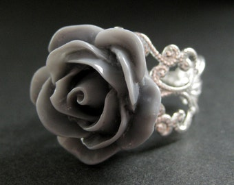 Gray Rose Ring. Grey Flower Ring. Filigree Adjustable Ring. Flower Jewelry. Handmade Jewelry.