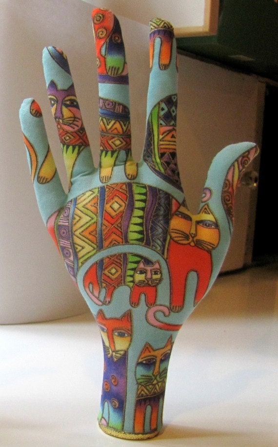Jewelry Display Laurel Burch Colorful Cats HAND-Stand