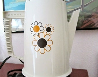 Regal Electric Coffee Pot beige with funky flower design and brown base