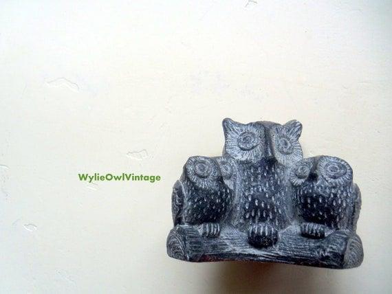 Vintage Wolf Sculpture Brand Owl Family Figurine 1970s