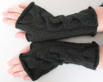 Knit Fingerless Gloves Arm Warmers Black Mittens, Acrylic Mohair