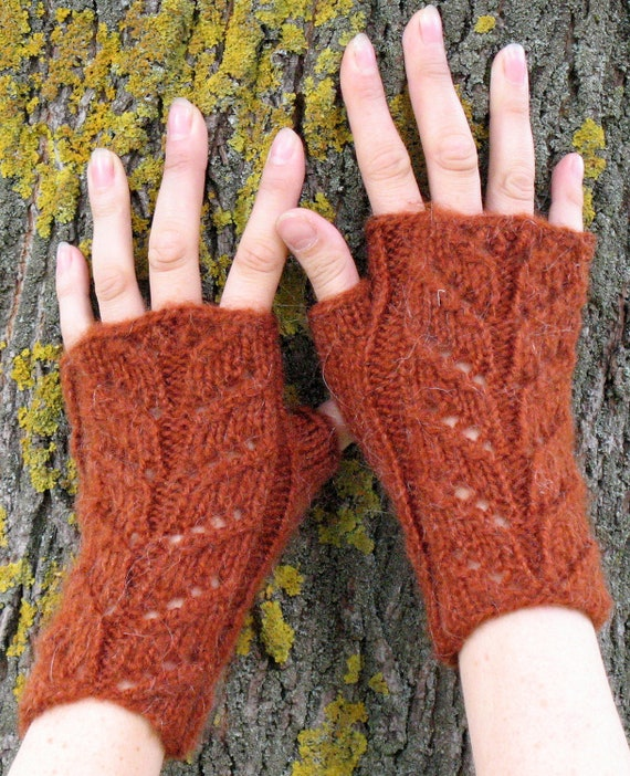 Knit Fingerless Gloves Mittens light brown Arm Warmers Soft acrylic mohair