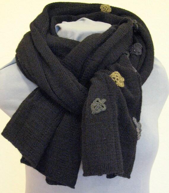 Scarf Jumbo Black and Crocheted Flower, Wool Mohair Acrylic