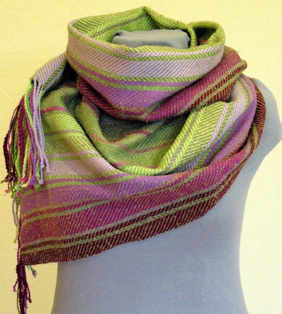 Striped Scarf Burgundy Pink Violet Salad Green hand woven cloth