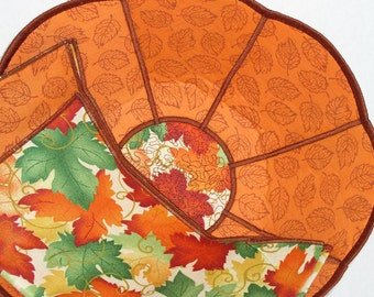 Fall Reversible Fabric Bowl - Fall Leaves Large Scalloped Reversible Fabric Bread Bowl w/ napkin