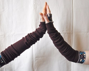 Creased Arm Warmers Dark Plum Upcycled Clothing Funky Long Arm Warmers Wrapped Wrists Cuffs Eco Tattered Style Woman's Clothing